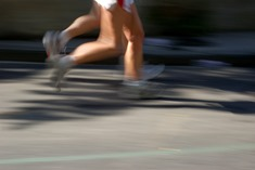 out of focus runner legs